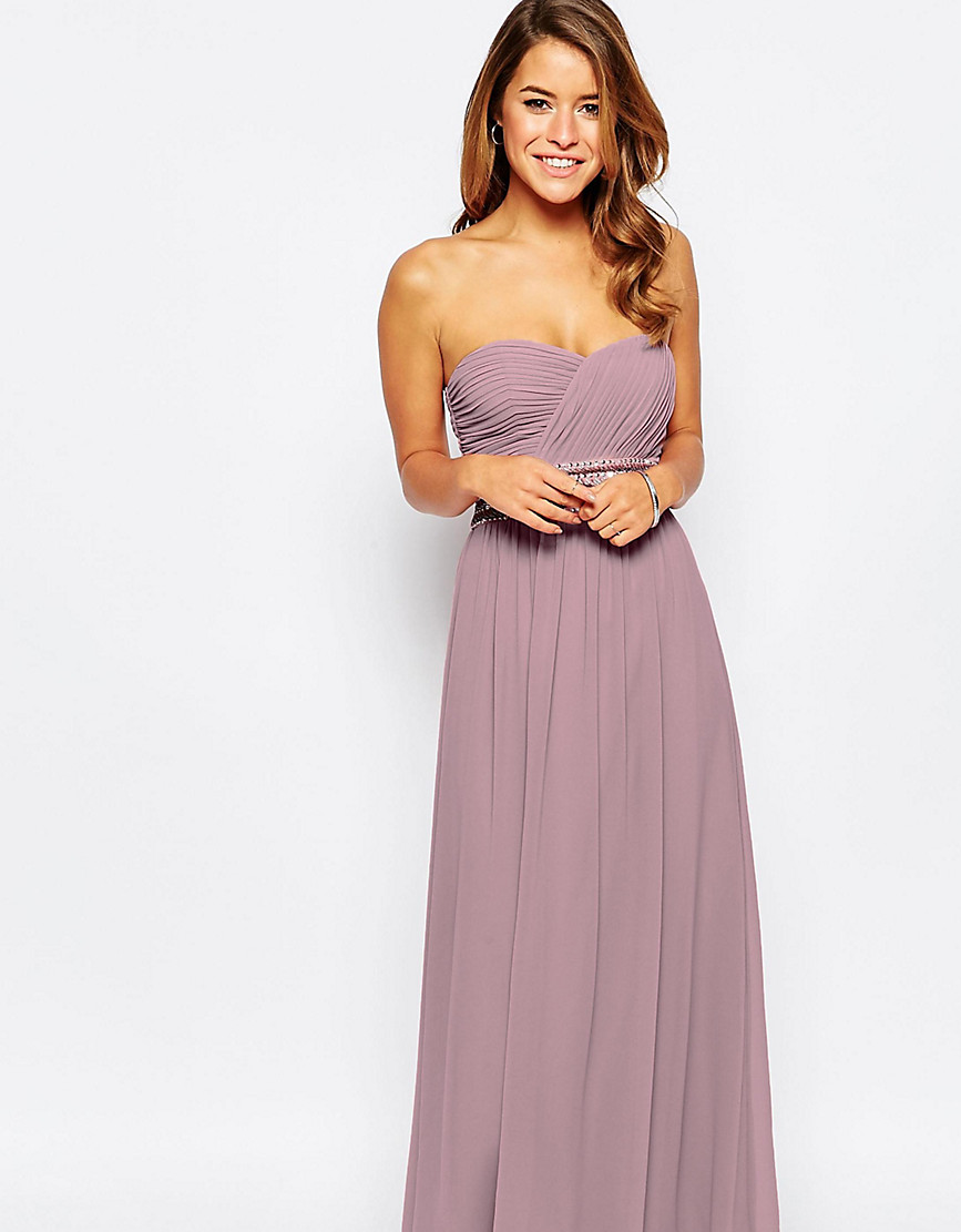 Little Mistress Petite Bandeau Maxi Dress With Embellished Waist