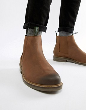 Barbour Farsley leather chelsea boots in brown - Brown
