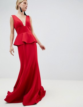 Jovani Peplum Maxi Dress - Red