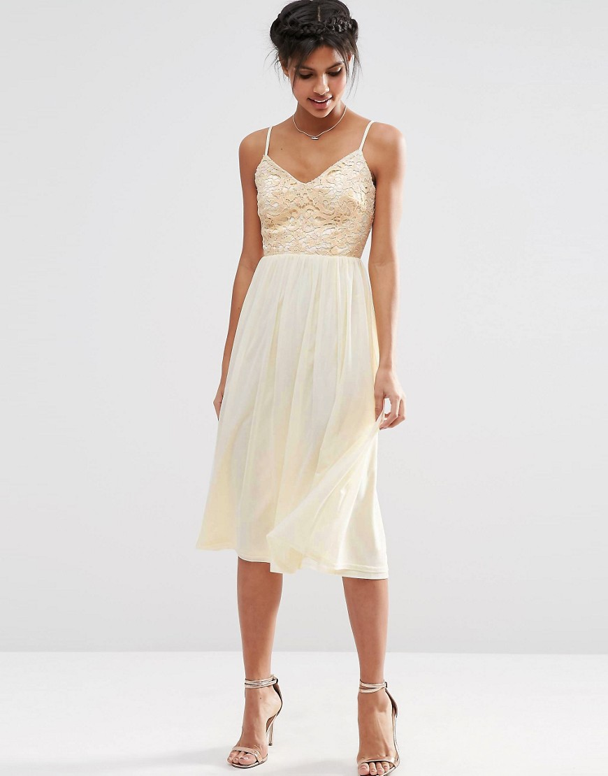 Image 1 of ASOS Lace Sequin Bodice Cami Midi Skater Dress