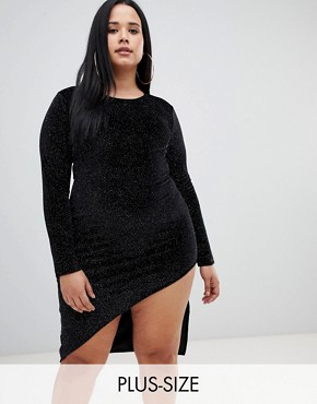 PrettyLittleThing Plus glitter bodycon mini dress in black
