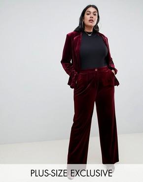 UNIQUE21 Hero Plus velvet wide leg trouser co-ord - Dark red