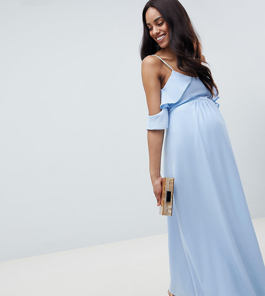 QUEEN BEE Cold Shoulder Detail Maxi Dress - Blue