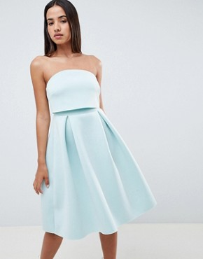 ASOS DESIGN Bandeau Crop Top Prom Midi Dress - Dusty aqua