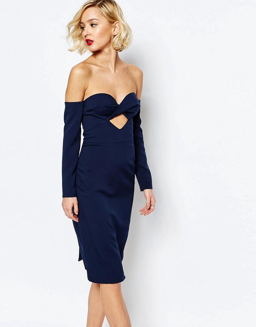 Lavish Alice Bandeau Cut Out Midi Dress