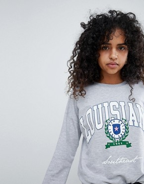 New look Louisiana Crest Sweat - Grey