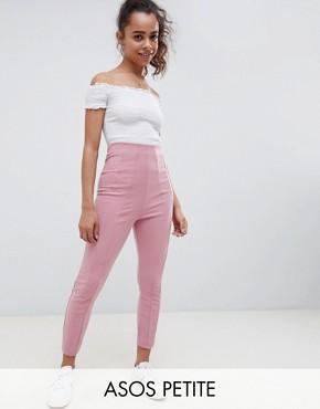 ASOS DESIGN Petite skinny trouser with super high waist - Dusky pink