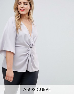 ASOS DESIGN Curve exclusive twist front kimono sleeve top - Silver