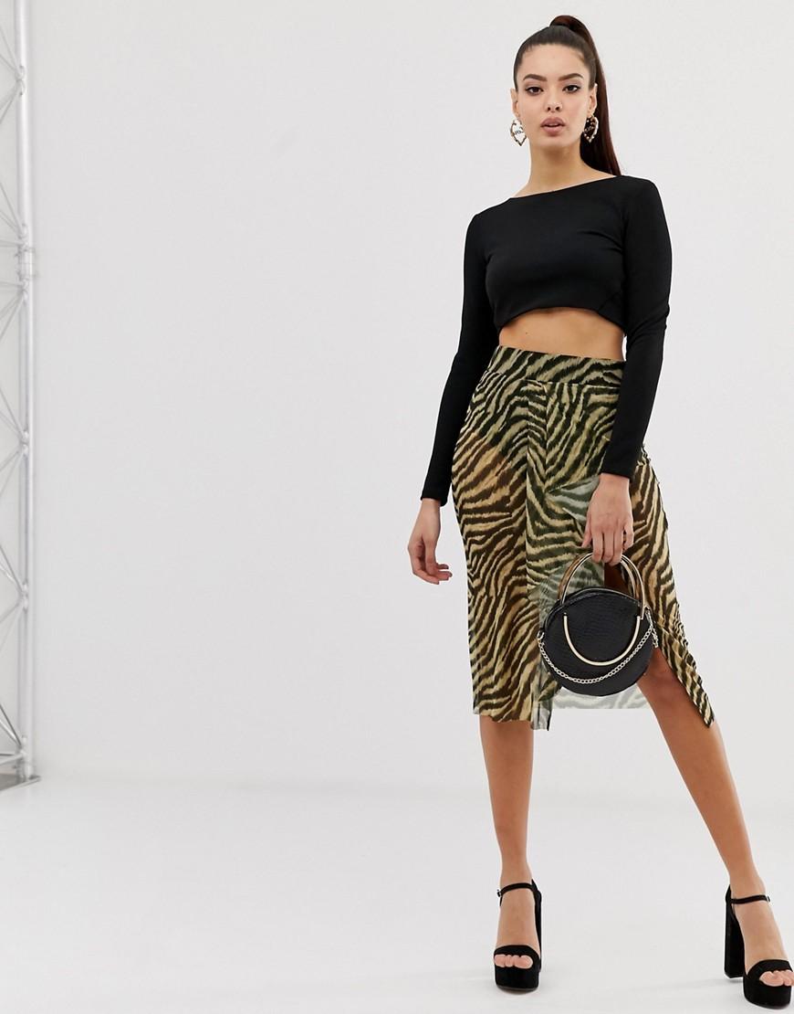 Image of Abbigliamento DESIGN - Gonna a pantalone midi con stampa animalier - Multicolore