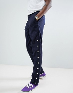 ASOS DESIGN Slim Trousers Co-Ord In Navy Pinstripe With Poppers - Navy