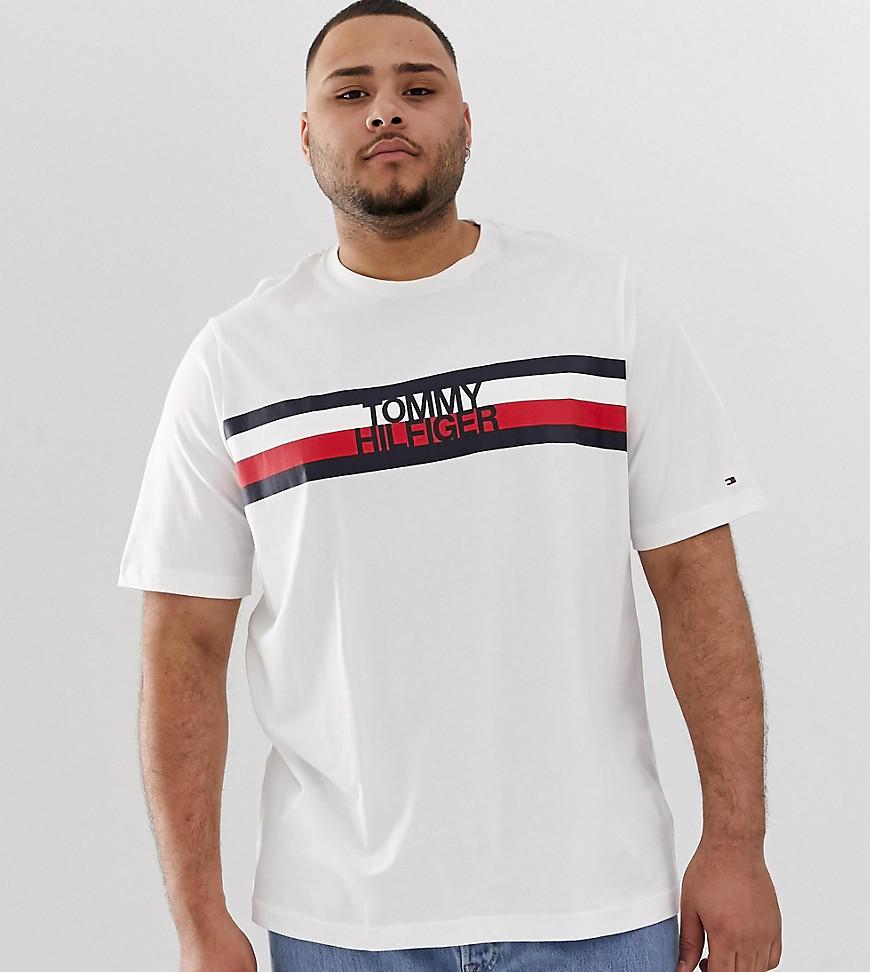 00474dd5 Tommy Hilfiger Big & Tall Chest Icon Stripe Logo T-Shirt In White - White