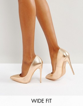 Lost Ink Wide Fit Rose Gold Metallic High Court Shoes