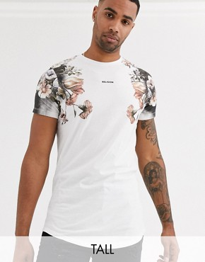Religion tall t-shirt with pink box skull print in white