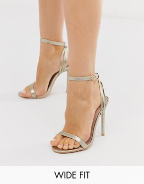 Lost Ink Wide Fit Faye Gold Barely There Sandals