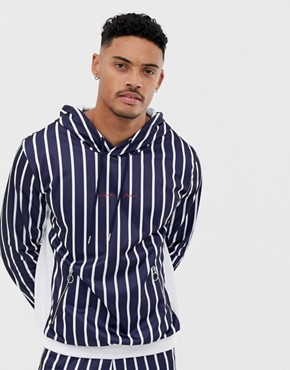 Liquor N Poker hoodie in blue stripe - Blue