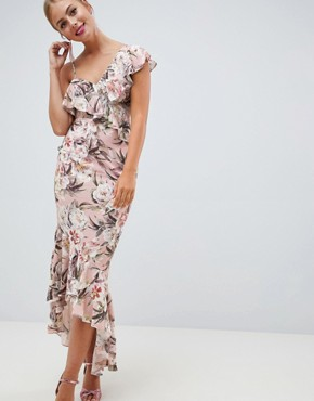 ASOS DESIGN pretty light floral print ruffle maxi dress - Floral print