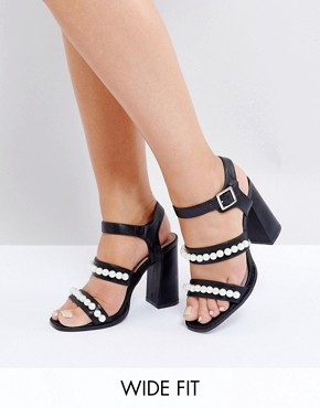 Lost Ink Wide Fit Black Pearl Effect Heeled Sandals