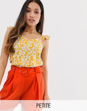 Vero Moda Petite floral ruffle shoulder shift top