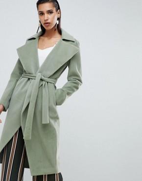 Lavish Alice short fur oversized lapel coat - Sage green
