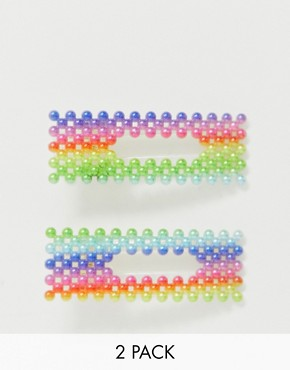 ASOS DESIGN pack of 2 hair clips in rainbow pearl