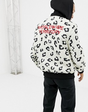 YOURTURN printed bomber jacket in white with jersey hood