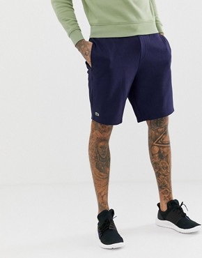 Lacoste Sport logo jersey sweat shorts in navy