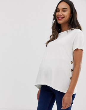 ASOS DESIGN Maternity nursing t-shirt with button sides