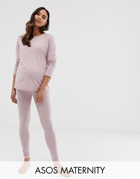 ASOS DESIGN Maternity mix & match marl pyjama jersey legging