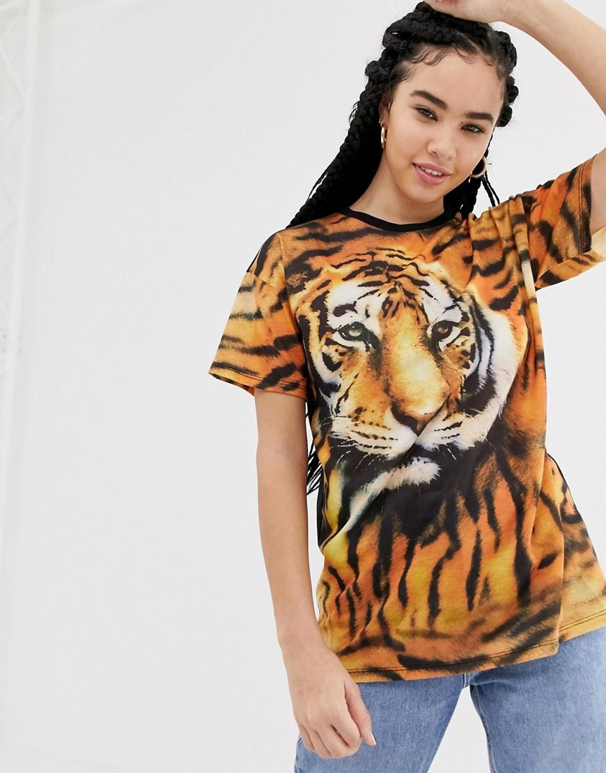 Image of Abbigliamento DESIGN - T-shirt oversize con foto di tigre - Multicolore