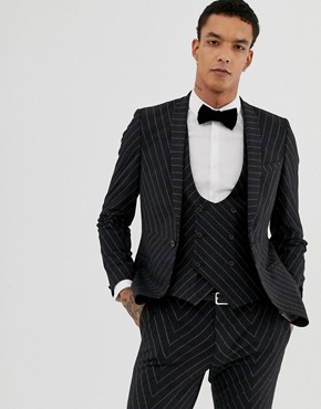 Twisted Tailor super skinny suit jacket in cut and sew pinstripe - Charcoal
