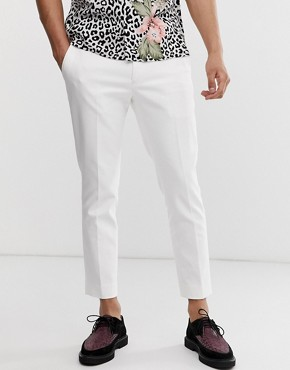 Twisted Tailor tapered cropped trousers in white