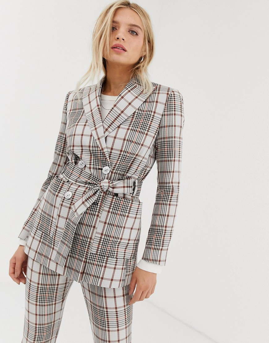 Product photo of Asos design summer based check suit blazer with self belt