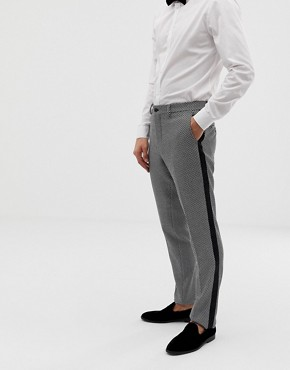 Jack & Jones Premium slim fit tuxedo trousers in grey black