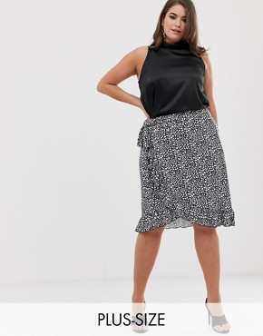 PrettyLittleThing Plus wrap midi skirt with frill hem in mono spot