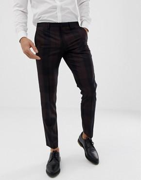 Burton Menswear tuxedo trousers in red tartan - Red