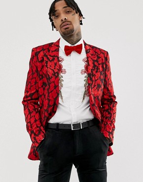 ASOS EDITION slim blazer with red leopard jacquard