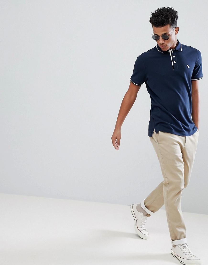 Novita Navy uomo Polo slim elasticizzata blu navy con logo ad alce e bordi a contrasto Navy Abercrombie&Fitch - Core