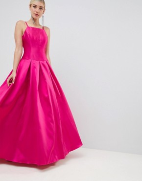 Jovani Square Neck Maxi Prom Dress - Pink