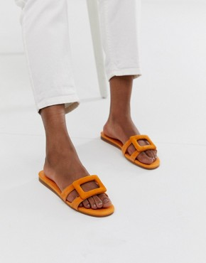 Mango slip on sandals in orange