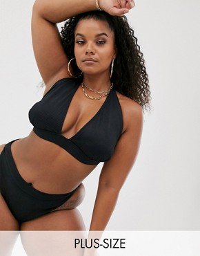 South Beach Curve Exclusive mix and match ribbed halter bikini top in black