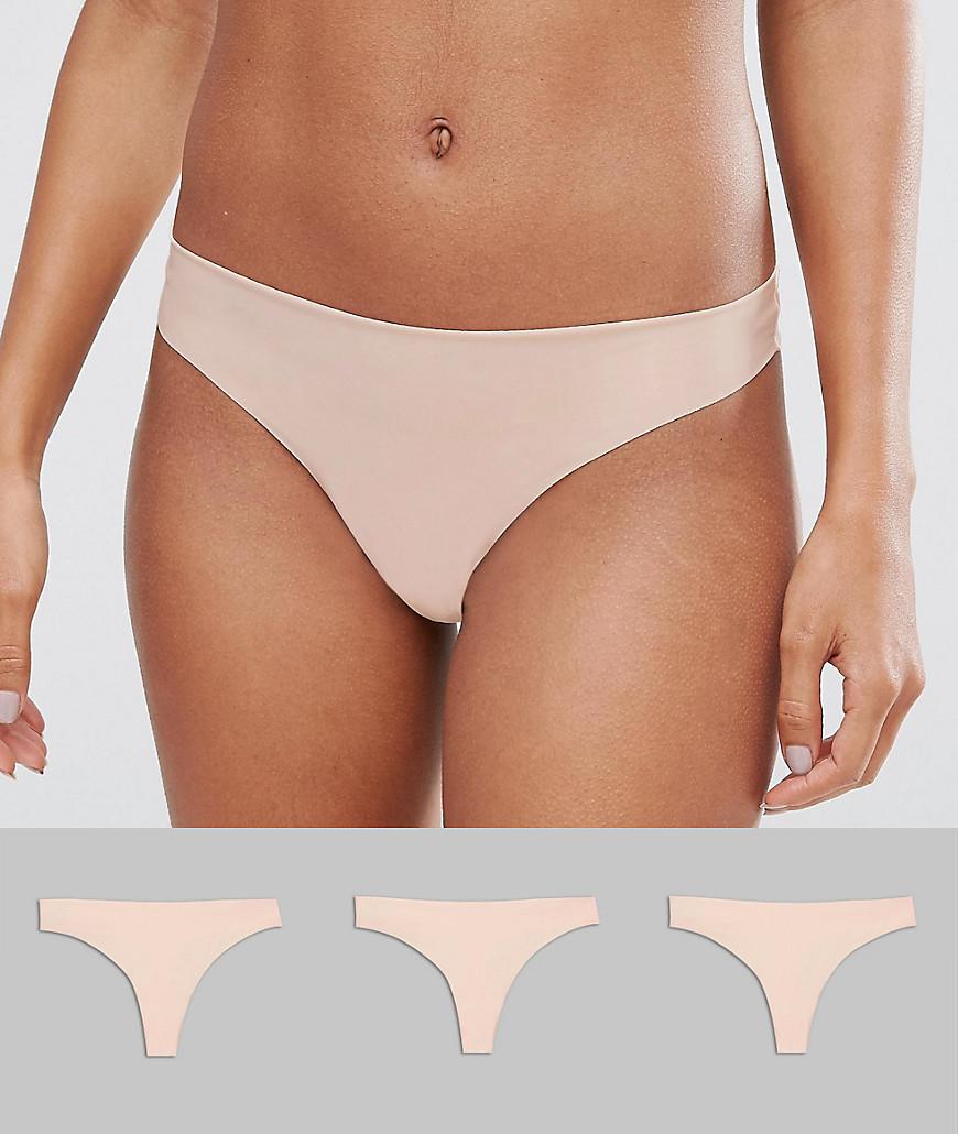 ASOS 3 Pack Basic Seam Free Thongs - Nude