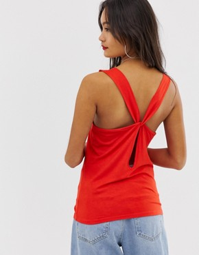 Noisy May twist back vest in red