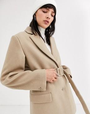 Weekday belted wool blazer in beige