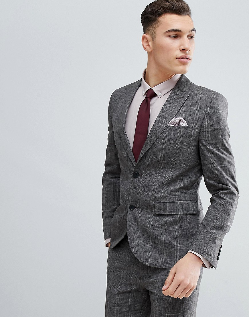 NEXT Skinny Suit Jacket In Natural Check - Stone