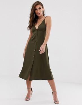 ASOS DESIGN midi cami smock dress with buttons