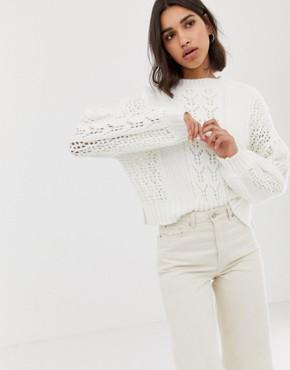 ASOS DESIGN open stitch jumper in fluffy yarn - Cream