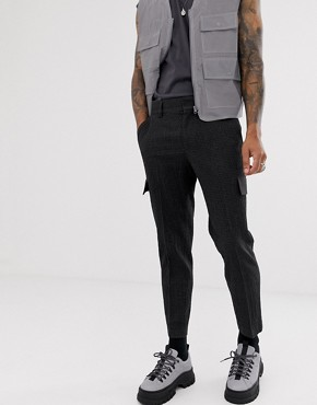 ASOS DESIGN slim crop smart seersucker cargo trousers in charcoal with contrast stitching