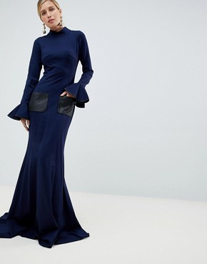 Jovani High Neck Long Sleeve Maxi - Navy
