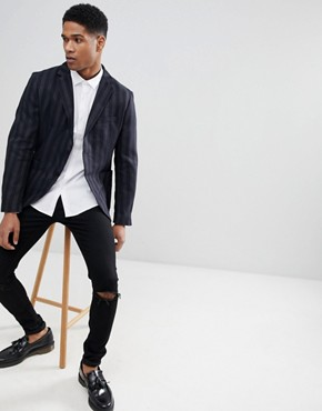 Sisley Patch Pocket Blazer In Slim Fit With Stripe - Navy