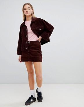 Weekday cord zip front mini skirt - Dark brown